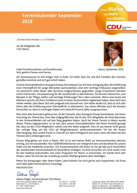 Monatsbrief der CDU Mainz